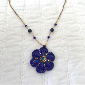 Miguel Ases Cobalt Seed Bead and Crystal Necklace